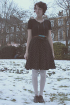 black Zara dress - dark brown Zara belt - cream Accessorize tights