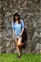 blue Forever 21 knit sweater - H&M BW dress - purple H&M shoes - green bracelet