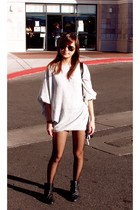 heather gray thrifted top - black stockings - black Zara boots