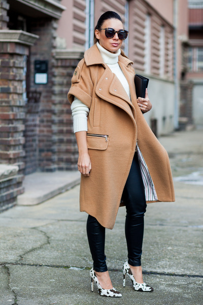 camel coat - white Mango sweater - black J Brand pants