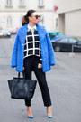 Blue-topshop-coat-white-forever-21-sweater-black-celine-bag