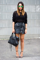 black River Island sweater - black balenciaga bag