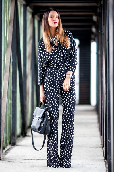 silk dotted Mango blouse - black leather Michael Kors bag - Mango pants