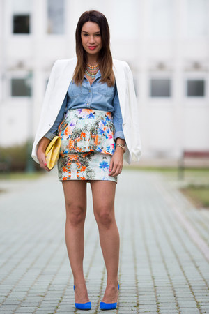 orange peplum floral Zara skirt - white linen Mango blazer