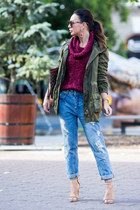 army green Zara coat - sky blue Zara jeans - maroon Stradivarius sweater