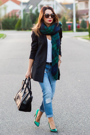 dark green Zara scarf - navy Mango jeans - black Celine bag