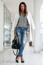 black striped Zara blouse - white Zara coat - blue ripped denim Zara jeans