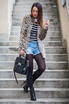 Pull & Bear coat - leather Zara boots - knitted striped Pull & Bear sweater