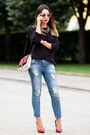 Blue-zara-jeans-black-knitted-h-m-sweater-white-flap-zara-bag