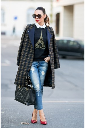 navy plaid H&M coat - white Topshop shirt - black Chanel bag
