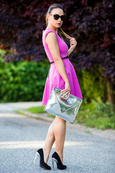 magenta Love dress - silver Choies bag - black Chanel sunglasses