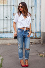 White-oversized-zara-shirt-blue-h-m-jeans-ruby-red-saint-laurent-heels
