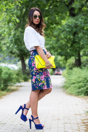 hot pink floral pencil Zara skirt - yellow neon clutch Zara bag