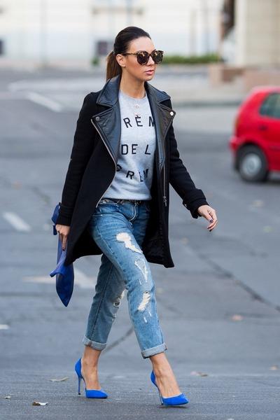 blue Forever 21 pumps - black Zara coat - periwinkle Zoe Karssen sweatshirt