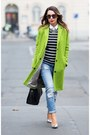 Chartreuse-topshop-coat-black-striped-sweater
