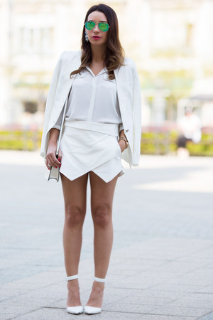 white linen Mango blazer - white sheer silk Mango blouse