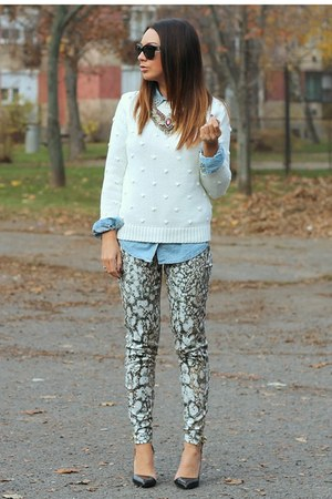 snake print Zara pants - knitted Pull & Bear sweater