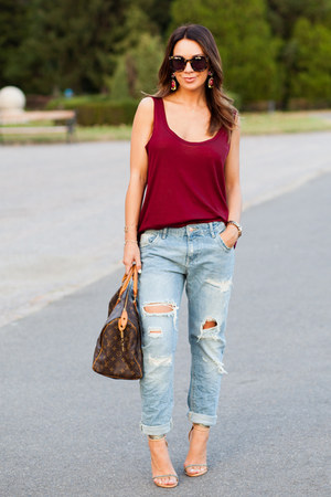 ruby red Zara top - sky blue Zara jeans - brown Louis Vuitton bag