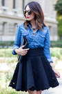 Blue-denim-gap-shirt-black-yves-saint-laurent-bag