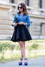 Blue-denim-gap-shirt-black-yves-saint-laurent-bag
