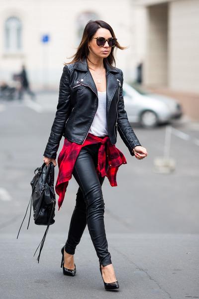 black Zara jacket - red H&M shirt - black balenciaga bag - black J Brand pants