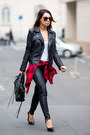Black-zara-jacket-red-h-m-shirt-black-balenciaga-bag-black-j-brand-pants
