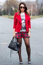 red Stradivarius jacket - black balenciaga bag