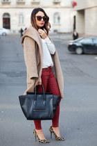 camel Zara coat - black Celine bag - ruby red Zara pants