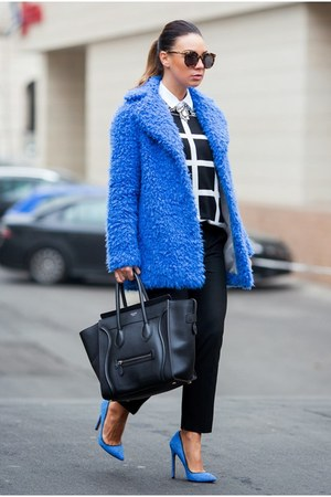 blue Topshop coat - white Forever 21 sweater - black Celine bag