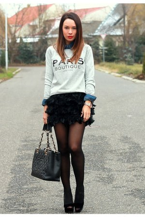 feather Stradivarius skirt - cotton Mango sweater - denim H&M shirt