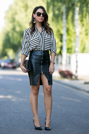 white striped Zara blouse - black leather Zara skirt - black Saint Laurent heels