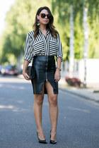 white striped Zara blouse - black leather Zara skirt - black Saint Laurent heels