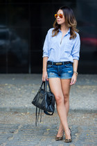 blue Zara shorts - light blue chambray Zara shirt - black balenciaga bag