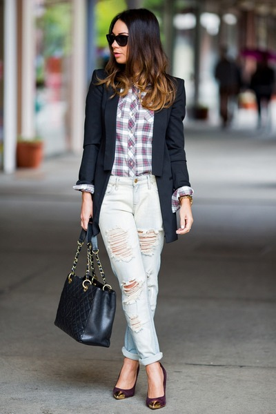 white plaid pull&bear shirt - light blue Mango jeans - black Zara blazer