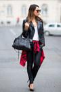 Black-zara-jacket-red-h-m-shirt-black-balenciaga-bag-black-j-brand-pants