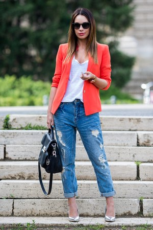 red Mango blazer - blue Zara jeans - black leather Michael Kors bag