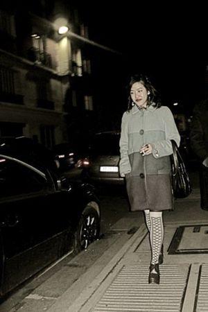 white H&M socks - blue Marc Jacobs coat - brown Cotlac shoes - black vintage acc