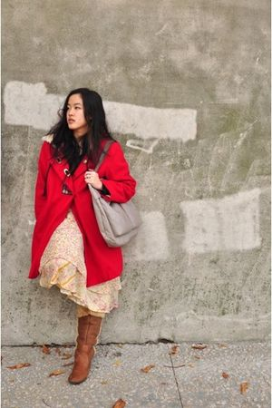 red Kimchi&Blue coat - yellow flea market skirt - brown born boots