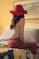 ruby red hat - black Forever 21 shirt - burnt orange H&M skirt