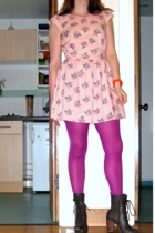 pink asoscom dress - gray Office shoes - purple not sure tights