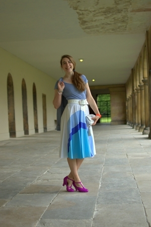 white vintage skirt - purple melissa for vivienne westwood shoes