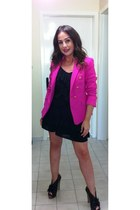 hot pink Zara blazer - black Aldo shoes - black banana republic dress