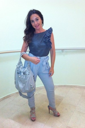 heather gray Sisley blouse - silver balenciaga bag