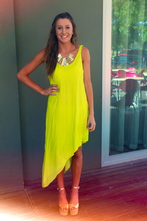 lime green asymmetrical dress - dark khaki Witners wedges
