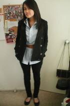 Miss Shop jacket - Ralph Lauren shirt - Dotti belt - CKM pants - cotton on shoes