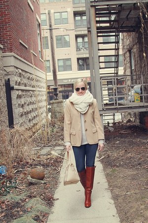 camel emporio armani jacket - brown rachel roy boots - blue 3x1 jeans