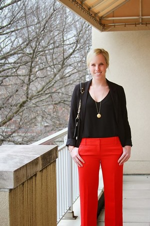 black Aritzia blazer - red The Limited pants - black silk tank dress JCrew top