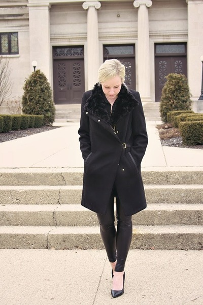 black Zara coat - black Aritzia leggings - black JCrew blouse
