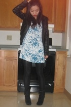 H&M jacket - Made dress - American Apparel leggings - Bakers boots