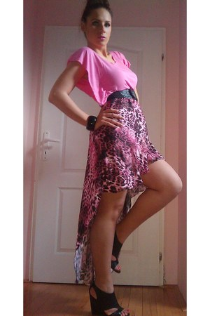 hot pink leopard print DIY skirt - hot pink cotton DIY blouse